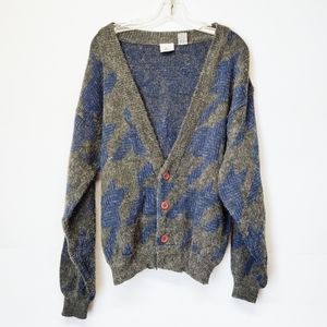 Vintage Grandpa Style Cardigan Sweater Blue Gray